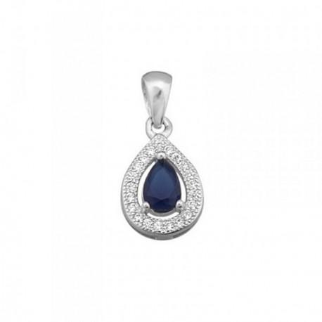 Colgante plata Ley 925m lágrima 13mm piedra color azul [AB6388]