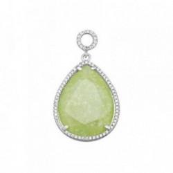 Colgante plata Ley 925m lágrima 27mm piedra color verde  [AB6389]