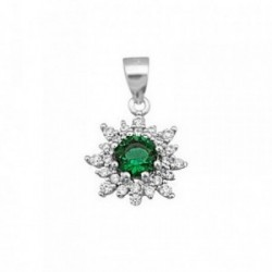 Colgante plata Ley 925m flor piedra color verde 6mm [AB6390]