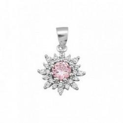Colgante plata Ley 925m flor piedra color rosa 6mm [AB6391]