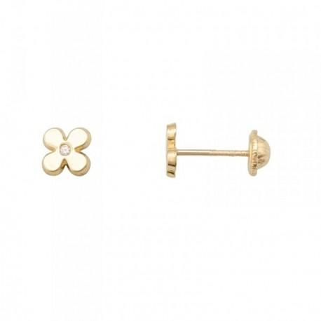 Pendientes oro 18k flor lisa circonita 1.25mm. [AB7059]
