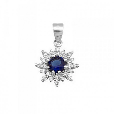 Colgante plata Ley 925m flor piedra color azul 6mm [AB6392]