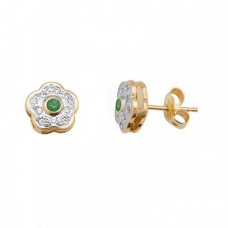 Pendientes oro 18k bicolor flor piedra color verde [AB7063]