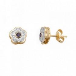 Pendientes oro 18k bicolor flor piedra color azul [AB7065]