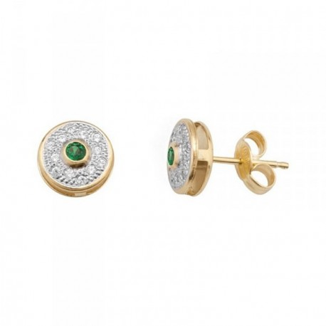 Pendientes oro 18k bicolor piedra color verde [AB7067]