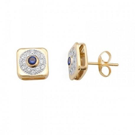 Pendientes oro 18k bicolor piedra color azul [AB7073]