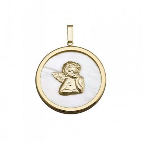 Colgante plata Ley 925m dorada 30mm. ángel Querubín nácar [AB6823]