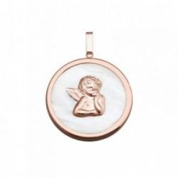 Colgante plata Ley 925m rosa 30mm. ángel Querubín nácar [AB6825]