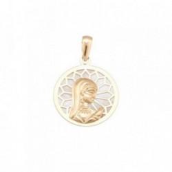 Medalla oro 18k nácar 17mm. Virgen niña [AB7095]