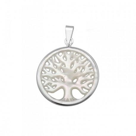 Colgante plata Ley 925m 25mm. árbol vida nácar [AB6829]