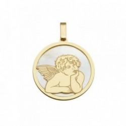 Colgante plata Ley 925m dorada 25mm. ángel Querubín nácar [AB6830]