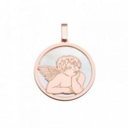 Colgante plata Ley 925m rosa 25mm. ángel Querubín nácar [AB6831]