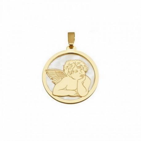 Colgante plata Ley 925m dorada 20mm. ángel Querubín nácar [AB6832]