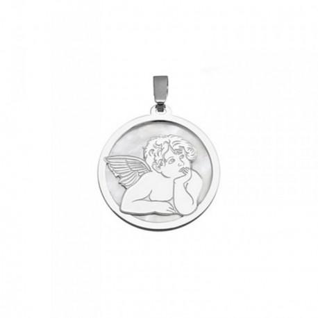 Colgante plata Ley 925m 20mm. ángel Querubín nácar [AB6833]