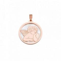 Colgante plata Ley 925m rosa 20mm. ángel Querubín nácar [AB6834]