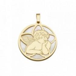 Colgante plata Ley 925m dorada 25mm. ángel Querubín nácar [AB6835]