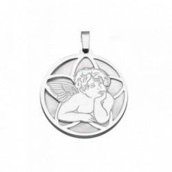 Colgante plata Ley 925m 25mm. ángel Querubín nácar [AB6836]