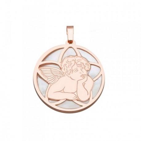 Colgante plata Ley 925m rosa 25mm. ángel Querubín nácar [AB6837]