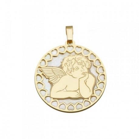 Colgante plata Ley 925m dorada 25mm. ángel Querubín nácar [AB6838]