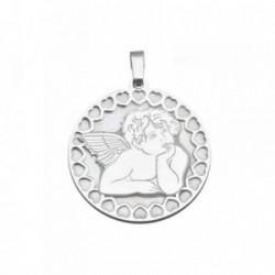 Colgante plata Ley 925m 25mm. ángel Querubín nácar [AB6839]