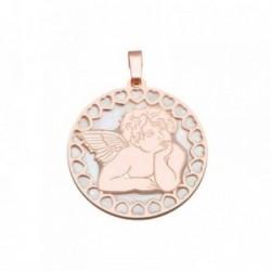 Colgante plata Ley 925m rosa 25mm. ángel Querubín nácar [AB6840]
