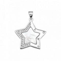 Colgante plata Ley 925m estrella nácar circonitas [AB6842]