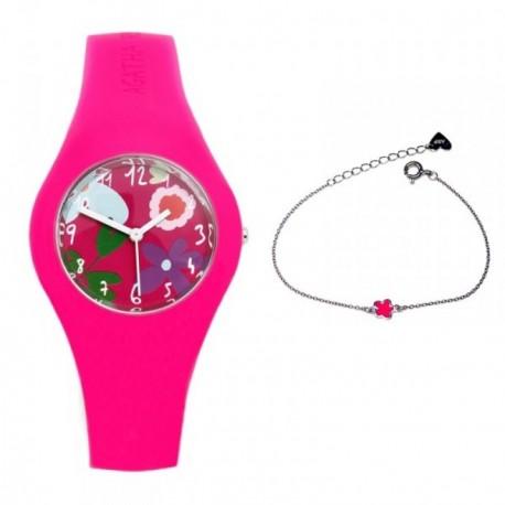Juego Agatha Ruiz de la Prada reloj AGR221 pulsera plata [AB7260]