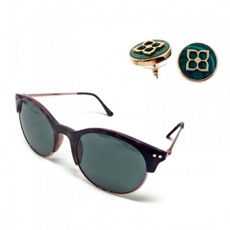 Juego mujer Pertegaz gafas sol PZ20020 563 pendientes malaquita bañados en oro presión