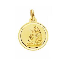 Medalla oro 18k bendición de San Francisco 16mm. lisa bisel [AA2680]