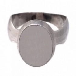 Sello plata Ley 925m ovalado cuerpo desigual tallas 17-16 [AB7188]