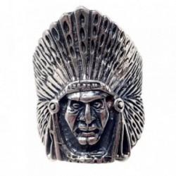 Sortija plata Ley 925m oxidada cabeza indio plumas talla 19 [AB7189]