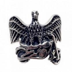 Sortija plata Ley 925m oxidada águila moto talla 14 [AB7191]