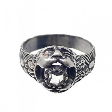Sortija plata Ley 925m oxidada boca león circonita talla 17 [AB7195]
