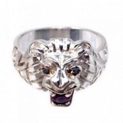 Sello plata Ley 925m cabeza león circonita fucsia talla 26 [AB7225]