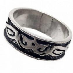 Sortija plata Ley 925m oxidada tribales fondo talla 18 [AB7233]