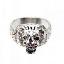 Sello plata Ley 925m cabeza león circonita azul talla 25 [AB9099]