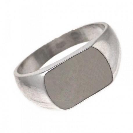 Sello plata Ley 925m rectangular bordes redondos [AB7226GR]