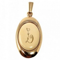 Colgante chapado oro letra L 25mm. porcelana oval [AB7197]