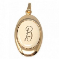 Colgante chapado oro letra B 25mm. porcelana oval [AB7199]
