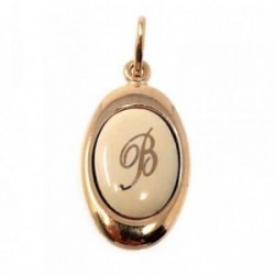 Colgante chapado oro letra B 17mm. porcelana oval [AB7200]
