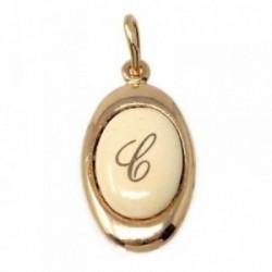 Colgante chapado oro letra C 17mm. porcelana oval [AB7201]