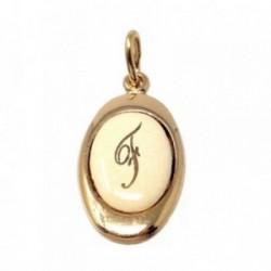Colgante chapado oro letra F 17mm. porcelana oval [AB7202]