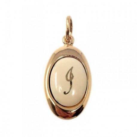 Colgante chapado oro letra I 17mm. porcelana oval [AB7203]