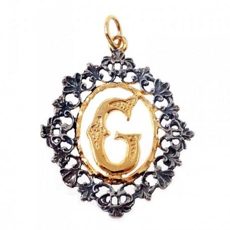 Colgante plata Ley 925m letra G 35mm. chapado oro oxidado [AB7211]