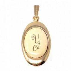Colgante chapado oro letra Y 25mm. porcelana oval [AB7196GR]
