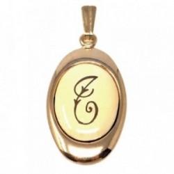 Colgante chapado oro letra T 25mm. porcelana oval [AB7198GR]