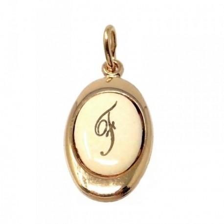 Colgante chapado oro letra F 17mm. porcelana oval [AB7202GR]