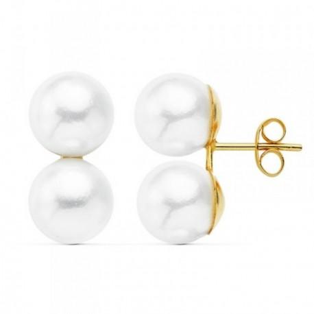 Pendientes oro 18k Tu y Yo dos perlas imitación [AB8731]