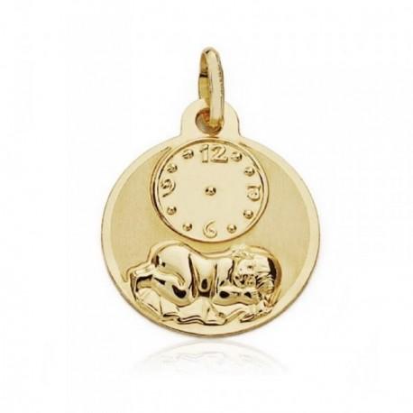 Medalla oro 18k bebé 15mm. recien nacido hora [AB8734]