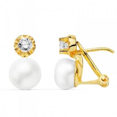 Pendientes oro 18k perlas cultivadas botón circonitas [AB8743]